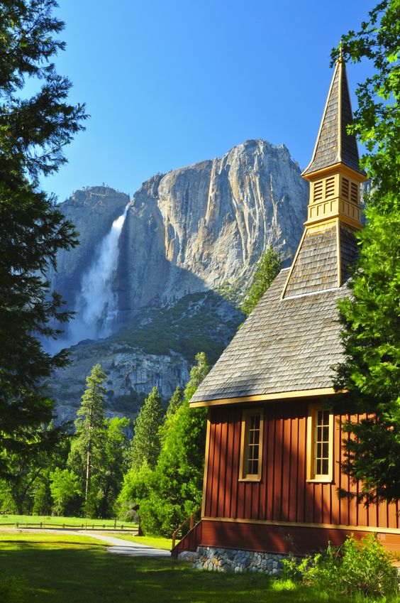 9093399 - upper yosemite falls and yosemite chapel. yosemite national park